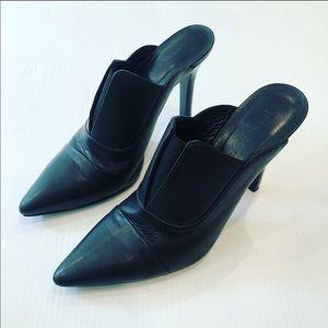 Jenni Kayne Black Pointed Toe High Heel Mule 37